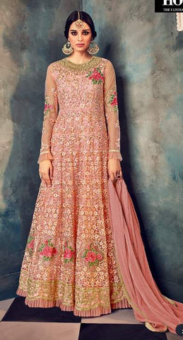 Beige Net Embroidery Anarkali With Beige Dupatta