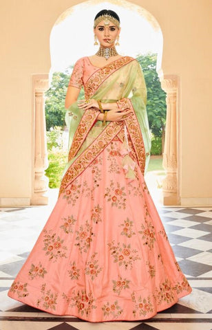 Pink Banarsi Bridal Lehenga With Green Dupatta