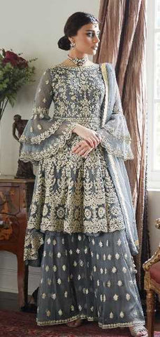 Grey Butterfly Net Party Wear Salwar Suit With  Dupatta