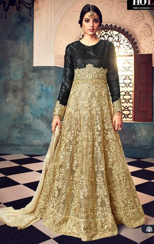 Golden Net Embroidery Anarkali Dress With Golden Dupatta