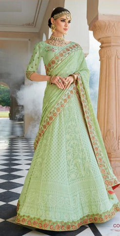 Sea Green Banarsi Bridal Lehenga With Sea Green Dupatta