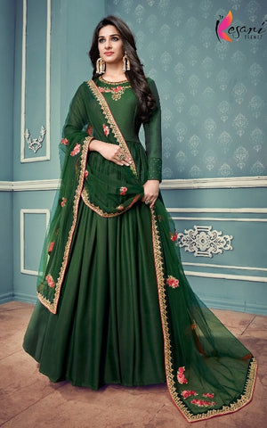 Green Silk Party Wear Anarkali Suit With Dupatta