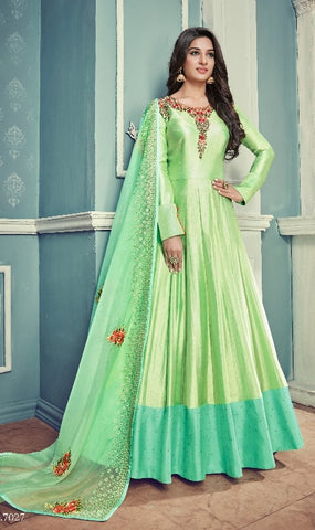Green Silk Party Wear Anarkali With Dupatta