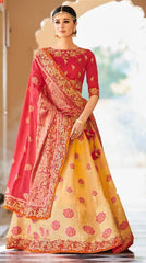 Yellow Banarsi Bridal Lehenga With Red Dupatta
