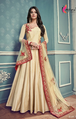 Off White Silk Party Wear Anarkali With Dupatta