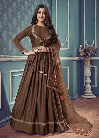 Brown Silk Party Wear Anarkali With Dupatta