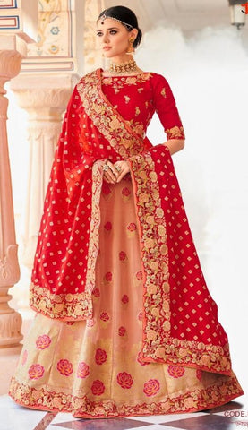 Pink Banarsi Bridal Lehenga With Red Dupatta