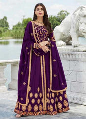 Purple Real Georgette Party Wear Salwar Suit With  Dupatta