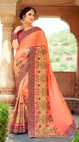 Peach Heavy Embroidered Patch Work Chiffon Saree With Blouse