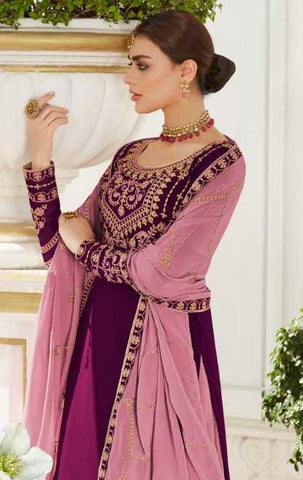 Purple Real Georgette Party Wear Lehenga With Pink Dupatta