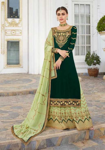 Green Real Georgette Party Wear Lehenga With Green Dupatta