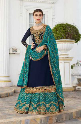 Blue Real Georgette Party Wear Lehenga With Blue Dupatta