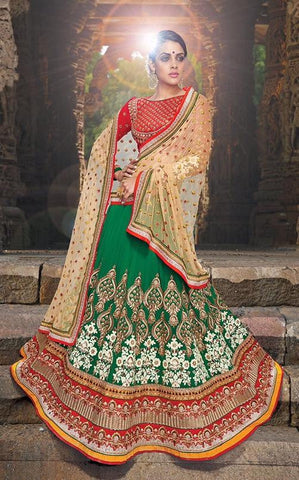 Green , Red,Georgette,Heavy designer lehenga with heavy embroidery for wedding