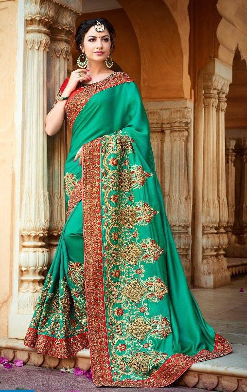 c3ad01a77c3bc Online Shopping Green Silk Saree On Cash On Delivery – Banglewale.com