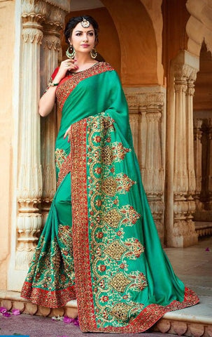 Silk Chiffom Embroidered Green Saree With Orange Blouse