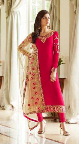 Pink Real Georgette Party Wear Suit With  Dupatta