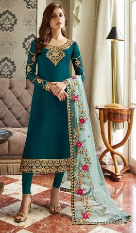 Cyan Real Georgette Party Wear Salwar Kameez With  Dupatta