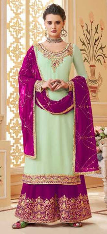 Green Real Georgette Party Wear Salwar Kameez With  Dupatta