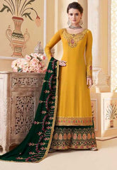 Yellow Real Georgette Party Wear Salwar Kameez With  Dupatta