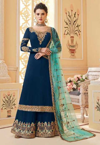 Blue Real Georgette Party Wear Salwar Kameez With  Dupatta