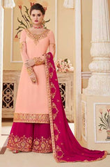 Peach Real Georgette Party Wear Suit With  Dupatta