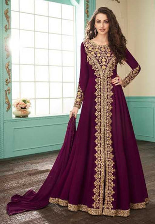Wine Real Georgette Party Wear Anarkali Suit With Wine Dupatta