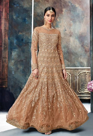 Brown Net Party Wear Anarkali With Brown Dupatta