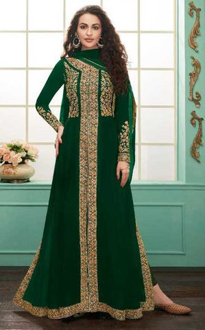 Green Real Georgette Party Wear Anarkali With Green Dupatta