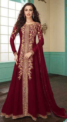 Maroon Real Georgette Party Wear Anarkali Dress With Maroon Dupatta