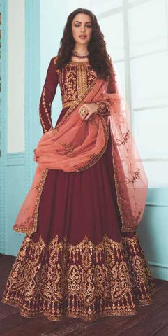 Maroon Real Georgette Party Wear Anarkali Suit With Peach Dupatta