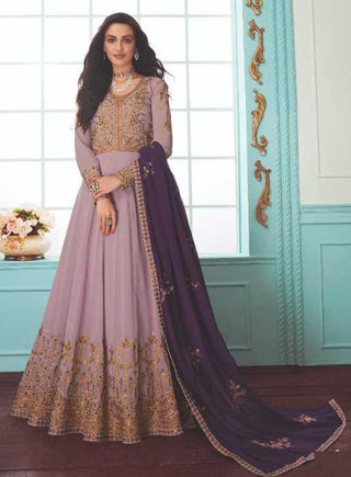 Lavender Real Georgette Party Wear Anarkali With Purple Dupatta