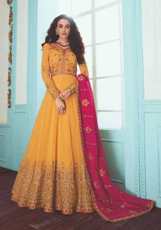 Yellow Real Georgette Party Wear Anarkali Suit With Pink Dupatta