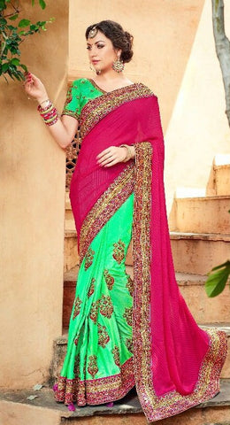 Pink  Green Georgette Embroidered Party Wear Saree With Green Blouse