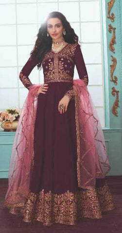 Wine Real Georgette Party Wear Anarkali With Pink Dupatta