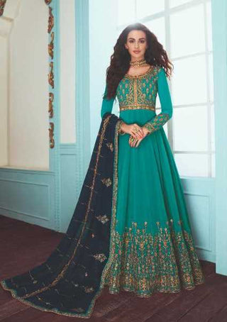 Blue Real Georgette Party Wear Anarkali Dress With Blue Dupatta