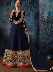 Navy Blue Georgette Party Wear Anarkali Suit With Nave Blue Dupatta