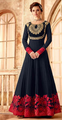 Blue Georgette Party Wear Anarkali Dress With Blue Dupatta
