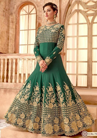 Green Makhmali Bember Party Wear Anarkali Suit With Green Dupatta