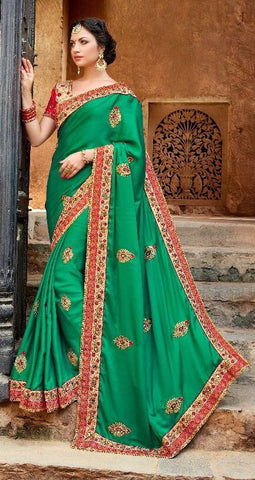 Zari Worked Embroidered Party Wear Saree In Green and Red