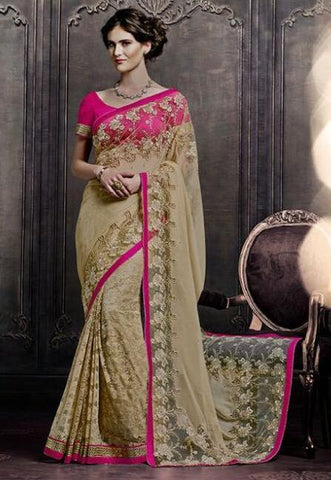 Shop Designer Beige and Pink half half barsso net saree with zari work for women