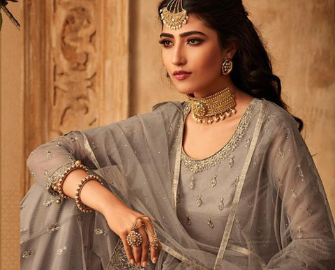 Grey Net Party Wear Suit With  Dupatta