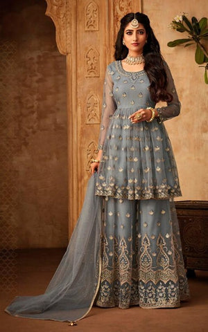 Bluish Grey Net Party Wear Salwar Suit With  Dupatta