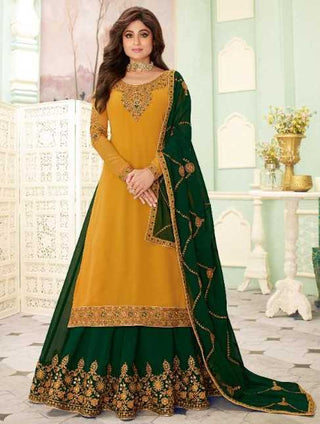 Yellow Real Georgette  Party Wear Suit With  Dupatta