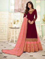 Maroon Real Georgette  Party Wear Salwar Kameez With  Dupatta