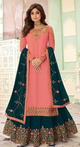 Peach Real Georgette  Party Wear Salwar Suit With  Dupatta