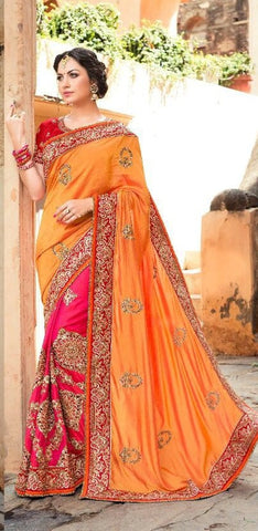 Orange And Peach Embroidered Saree With Blouse