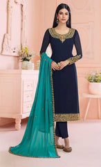 Blue Real Georgette Party Wear Suit With  Dupatta