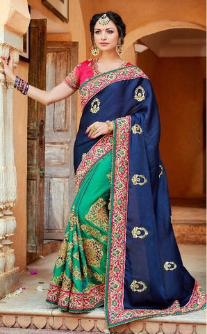 Green And Blue Embroidered Silk Saree With Blouse