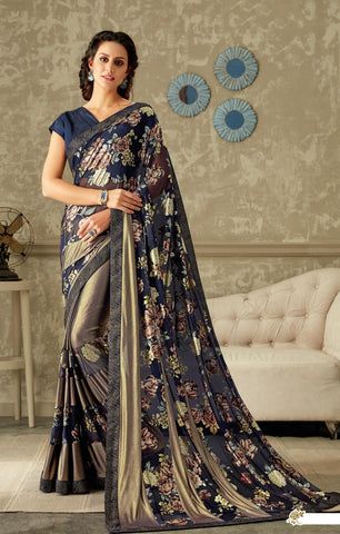 Blue Lycra Party Wear Saree With Blue Blouse