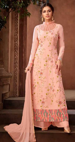 Pastel Pink Georgette Party Wear Salwar Suit With  Dupatta